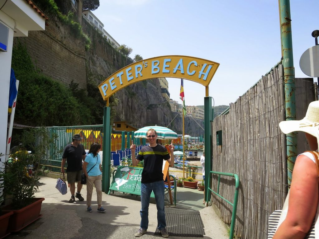 Peter beach sign in sorrento, italy