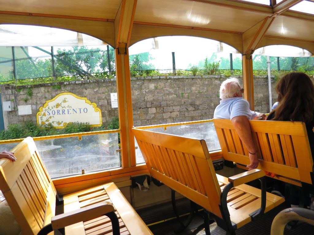 inside the open sided tram tour