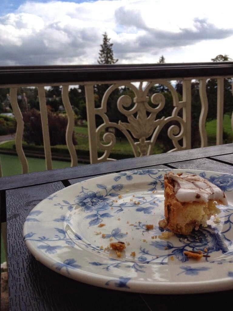cake on garden terrace