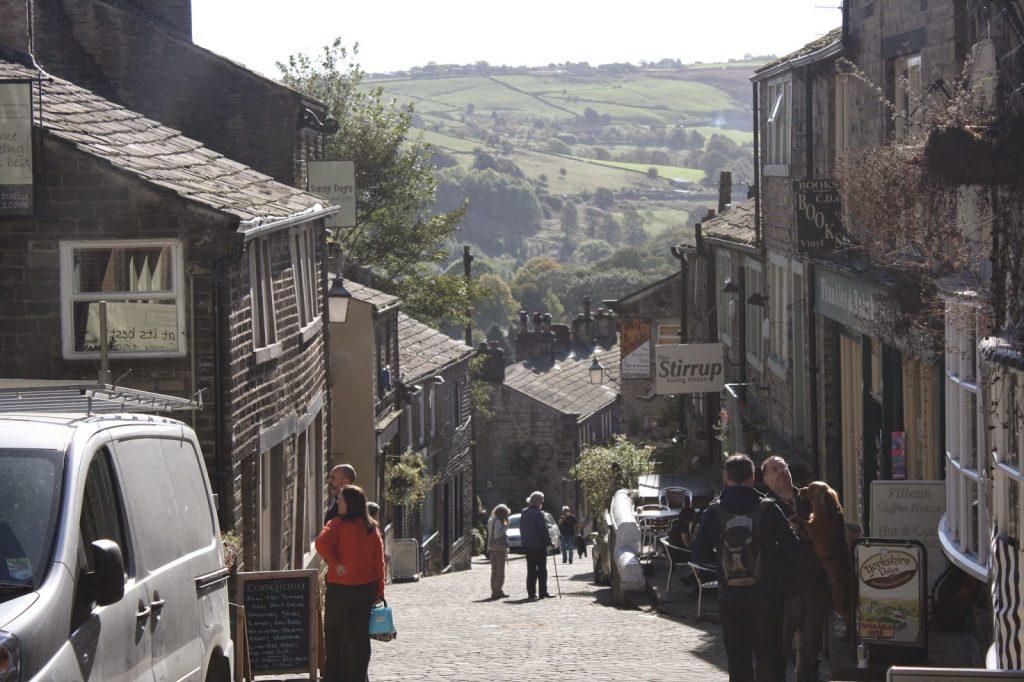 view of hillside street in Haworth village