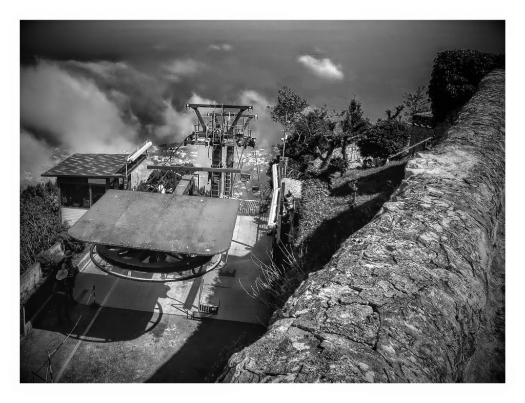 view from top of cable cars on Mount Solaro, capri, italy